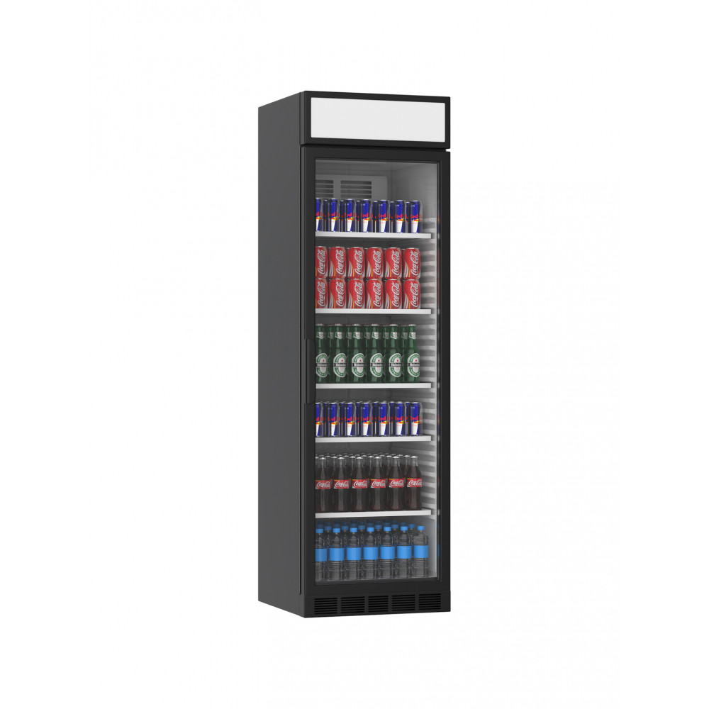Koelkast glazen deur - 385 Liter - 1 Deurs - Zwart - H199.4 x 59.5 x 60.5 CM - Promoline