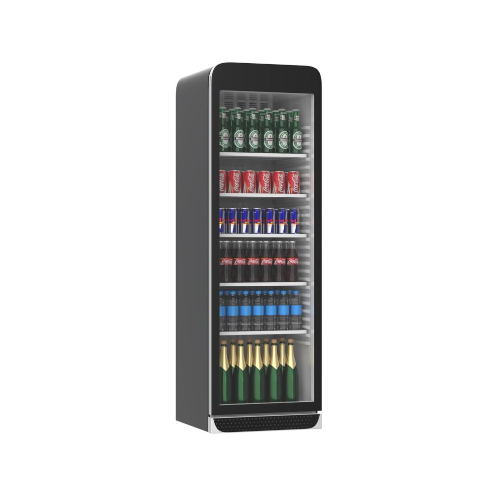 Koelkast glazen deur - 385 Liter - Retro - 1 Deurs - Zwart - H184.5 x 59.5 x 60.5 CM - Promoline