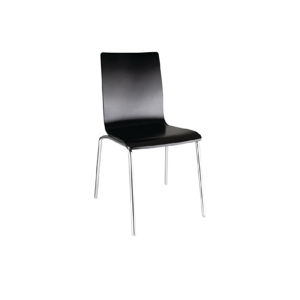 Stoel met vierkante rug zwart - 4 stuks - GR345 - Bolero
