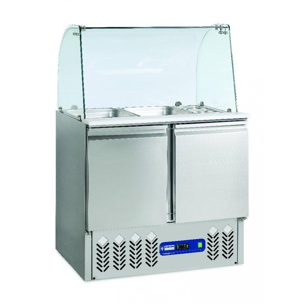Saladette + Deksel + Reserve - Gebogen Glas - 2 Deuren - 240 L - SAL2M/R6+KV2 - Diamond