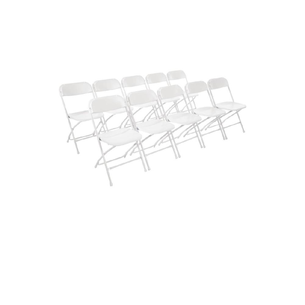 Stoel - 10 stuks - Opklapbaar - Wit - Bolero - GD387
