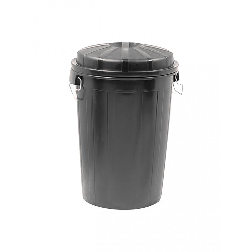 Afval Container - H 73 CM - 3.614 KG - Ø49.5 CM - Zwart - 95 Liter - Denox - 600052
