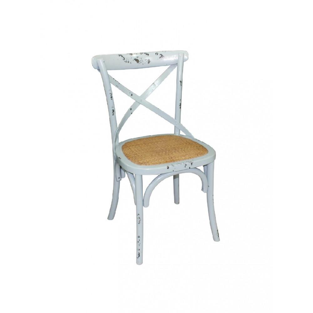 Houten stoel met gekruiste rugleuning antiek blue wash - 2 stuks - GG655 - Bolero