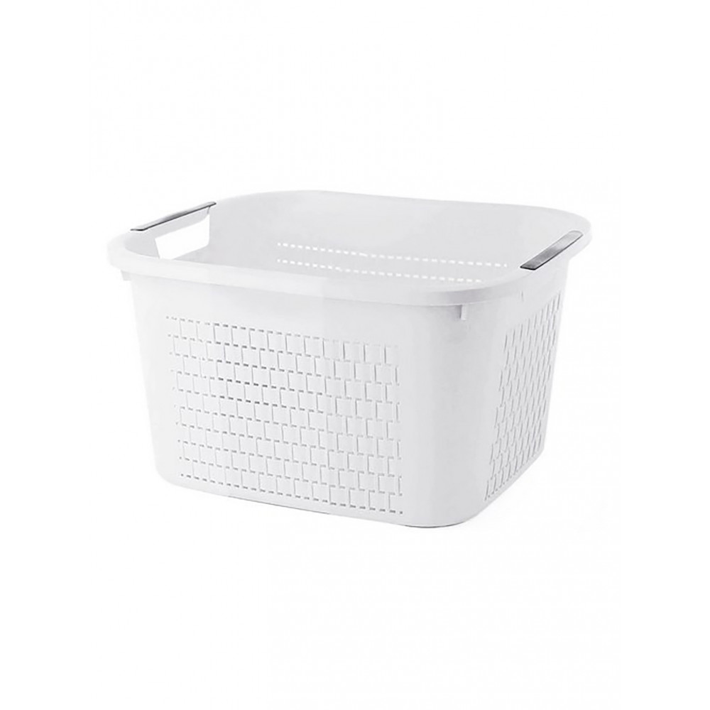 Wasmand - 22 Liter - Wit - Rotho - Country - 527632