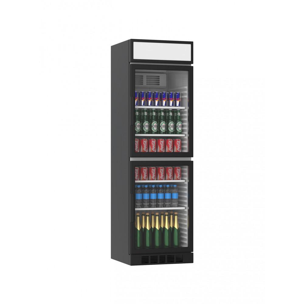 Displaykoeler - 385 Liter - 2 Deurs - Zwart - H199.4 x 59.5 x 60.5 CM - Promoline