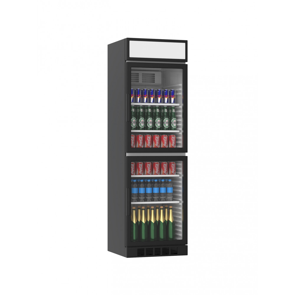 Koelkast glazen deur - 385 Liter - 2 Deurs - Zwart - H199.4 x 59.5 x 60.5 CM - Promoline