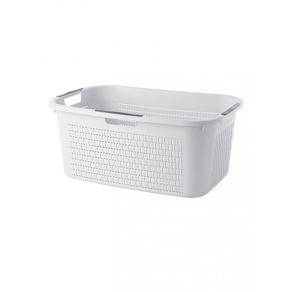 Wasmand - 40 Liter - Wit - Rotho - Country - 527635
