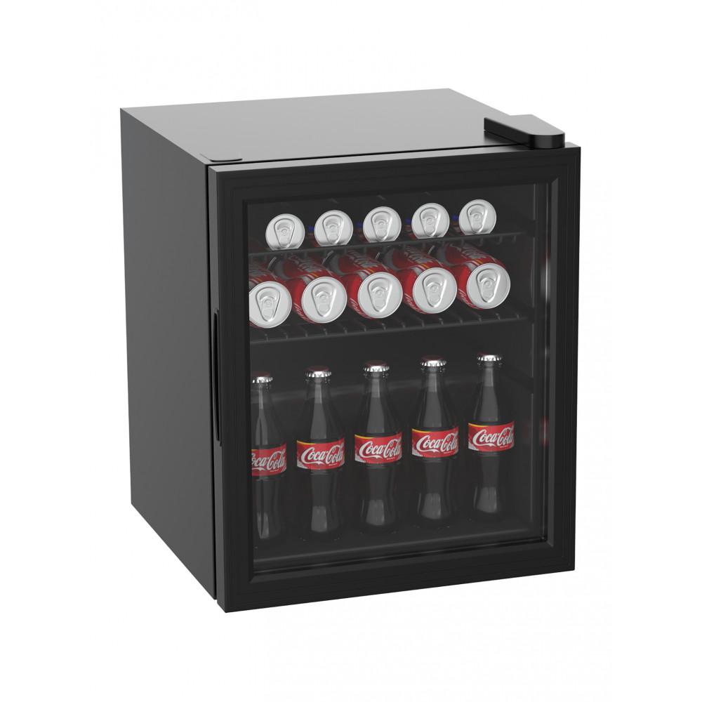 Mini koelkast - 50 Liter - Glasdeur - Zwart - Promoline