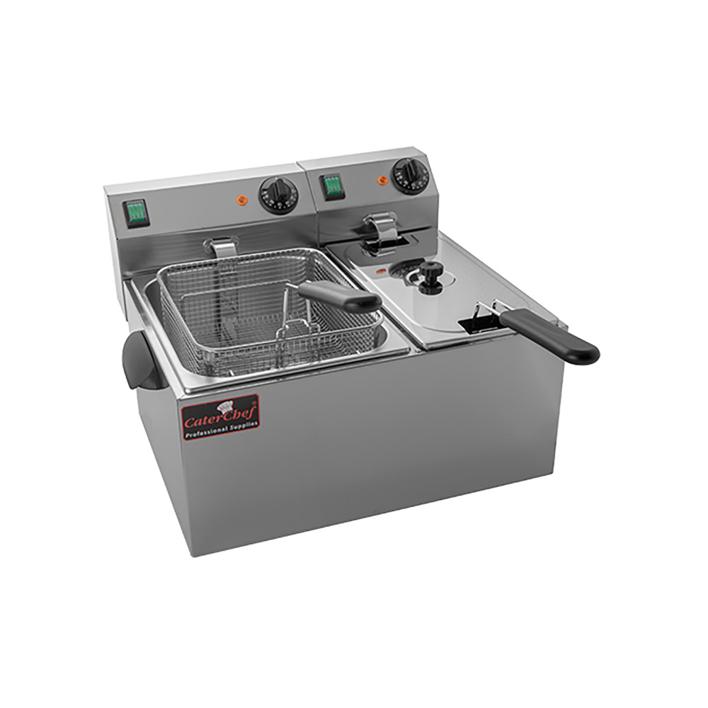 Friteuse - H 31 x 52 x 43 CM - 10 KG - 220 - 240 V - 3250 / 2000 W - RVS - 4 Liter - Elektrisch - Caterchef