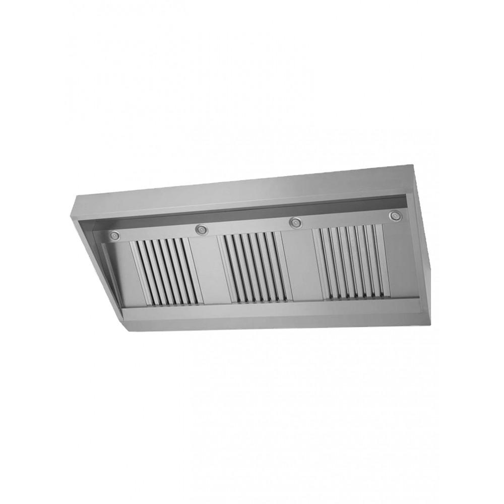 Horeca afzuigkap - Schuin model - H 40 x 150 x 70 CM - Inclusief verlichting - Promoline