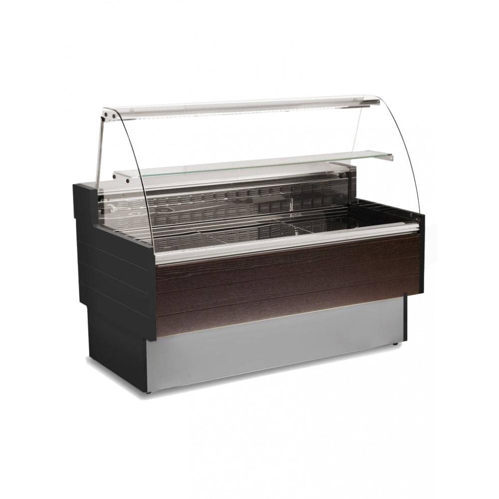 Koeltoonbank Cube - 250 CM - Gebogen ruit - 736W - 230V - Zwart - Promoline