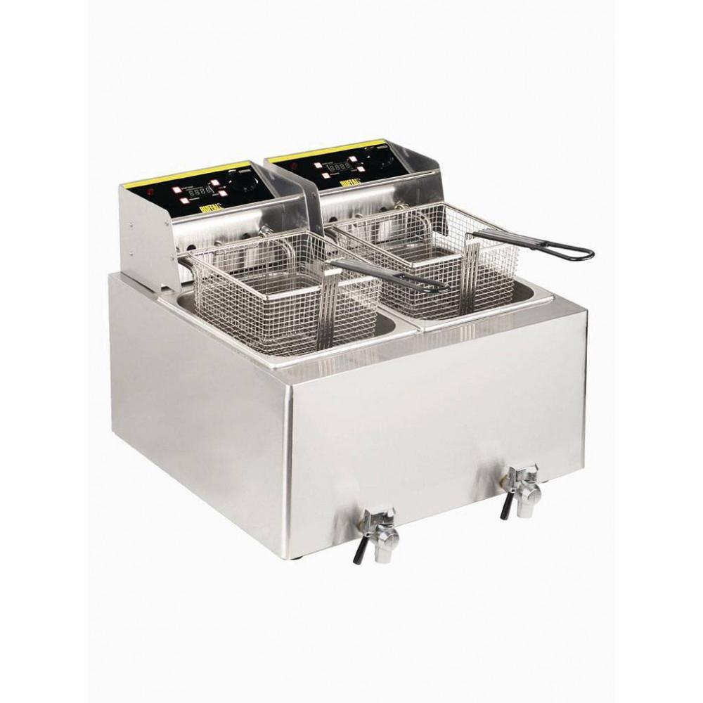 Buffalo - 2 x 8 liter - 6000KW - Aftapkraan - Digitale tijdsklok - GH127 | Horeca friteuse