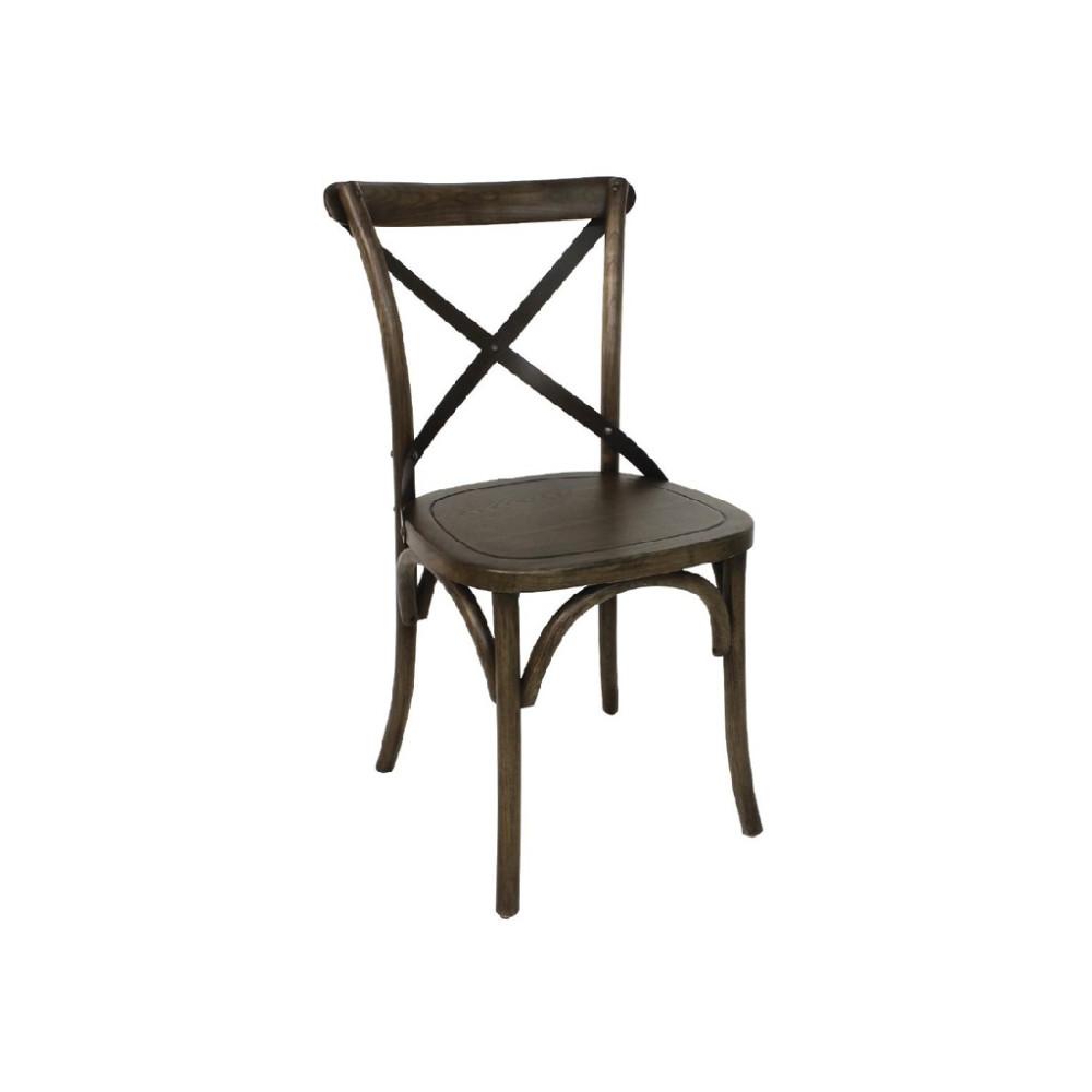 Houten stoel met gekruiste rugleuning walnoot - 2 stuks - GG658 - Bolero