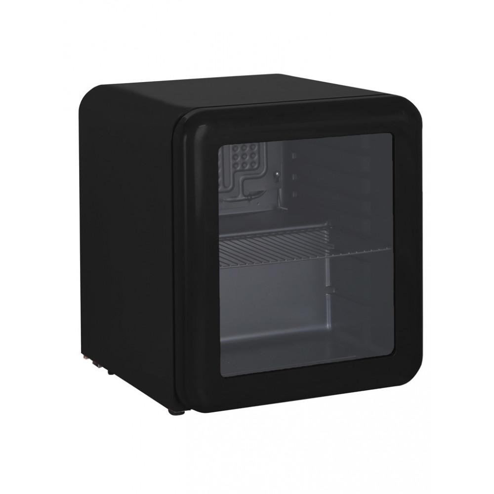 Exquisit - Koelkast - 48 liter - Glasdeur - Zwart - Retro