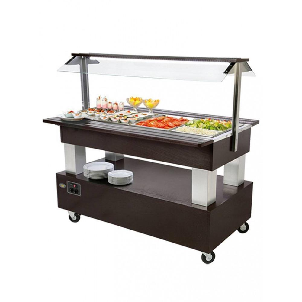 Saladebar - H 137 x 144.2 x 95 CM - 100 KG - 220 - 240 V - 500 W - Statische - R134A - Wenge hout - +2°C / +10°C - Roller Grill - 304171