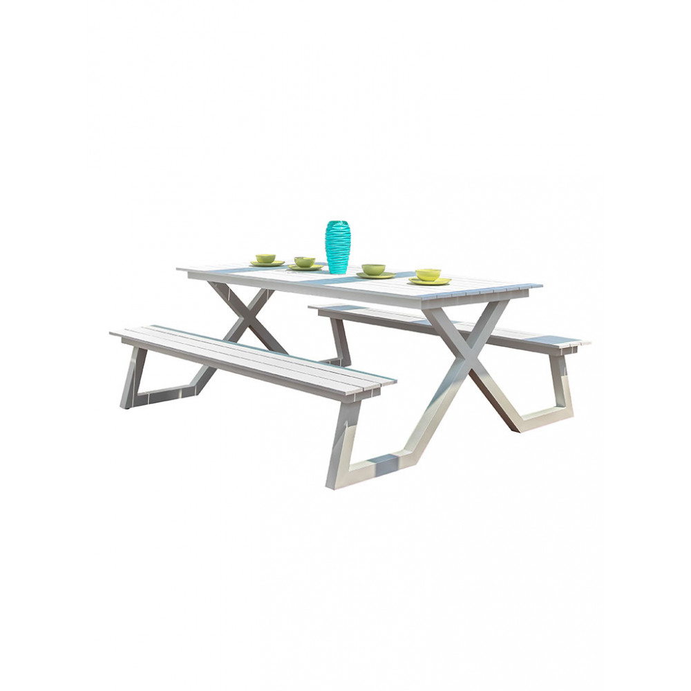 Picknicktafel - Wit - Aluminium - 44384