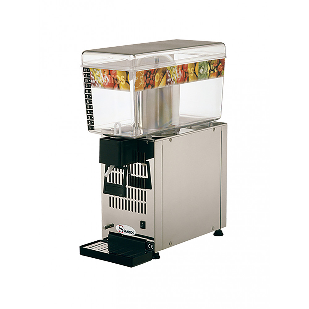 Drankendispenser - H 54.5 x 19 x 43 CM - 16 KG - 220 - 240 V - 160 W - Statische - R134A - Polycarbonaat - Grijs - 12 Liter - +4°C / +12°C - Santos - 408071