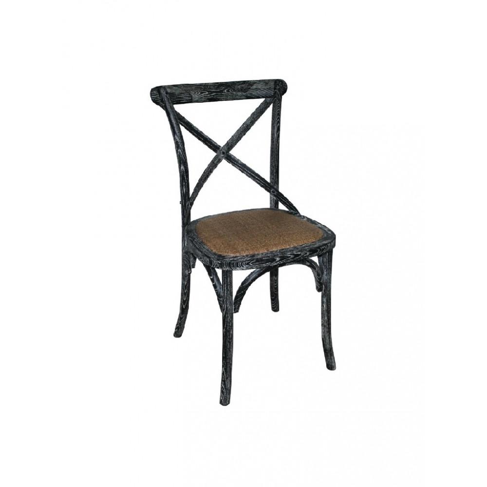 Houten stoel met gekruiste rugleuning black wash - 2 stuks - GG654 - Bolero