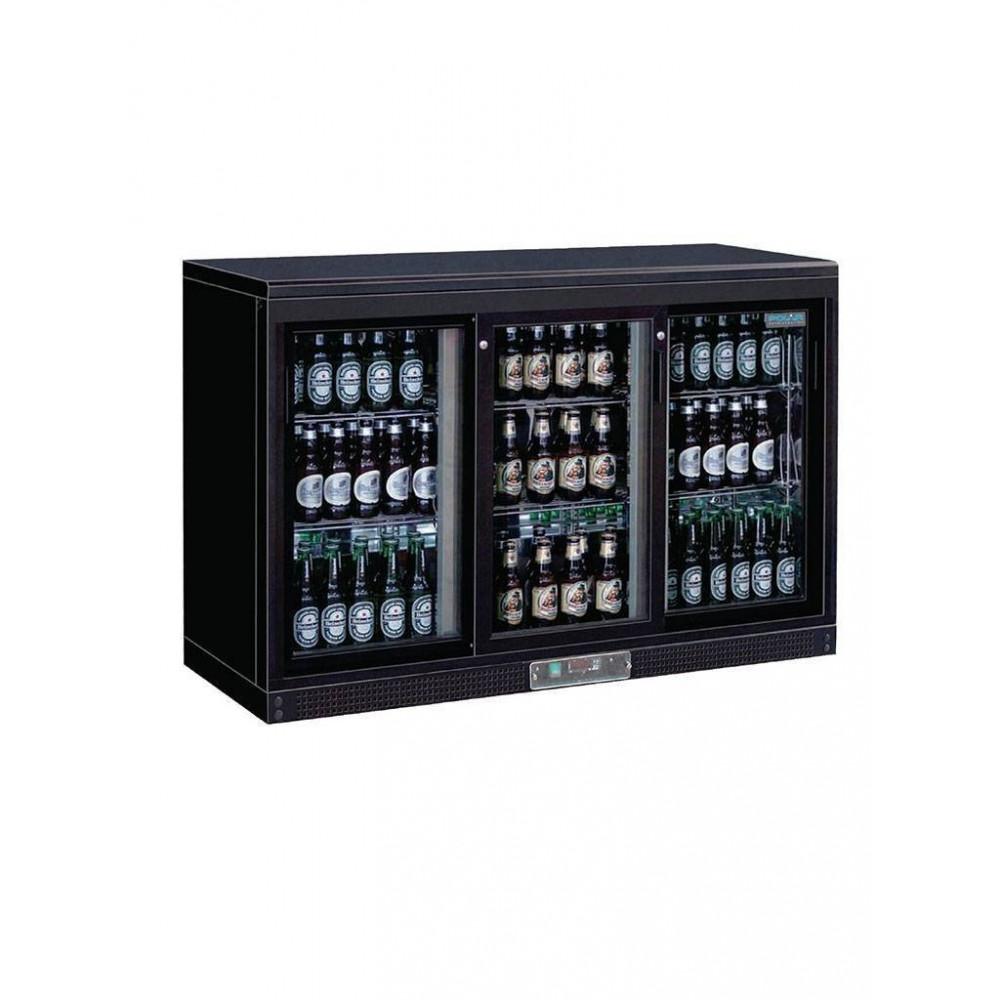 Polar 335 liter - 3 deurs - schuifdeur - zwart - GL006   Koelkast glazen deur