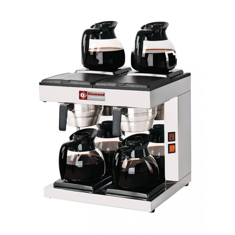 Koffiezetapparaat - 2 groepen - 4 verwarmplaten - Wateraansluiting - PCF-A4 - Diamond
