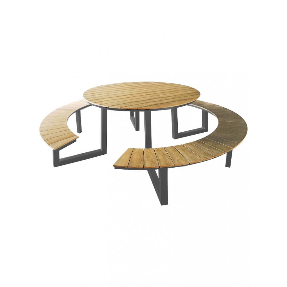 Picknicktafel Rond - Ø250 CM - Polywood / Aluminium - Promoline