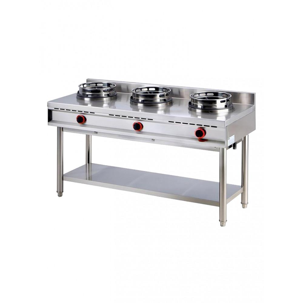 Gas wok kookplaat met plank, 3 branders - Virtus - AHA0019