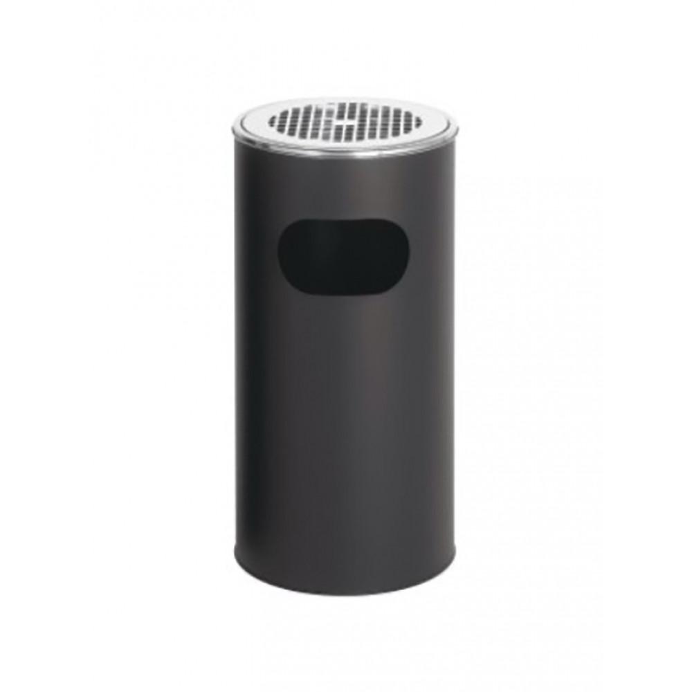 Afvalbak met asbak - 30 Liter - Zwart - Promoline