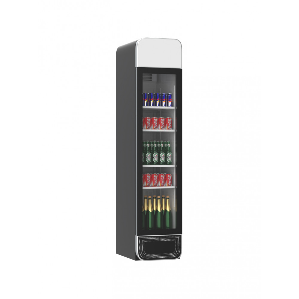 Koelkast glazen deur - 265 Liter - 1 Deurs - Zwart - H207.7 x 45 x 59.5 CM - Promoline