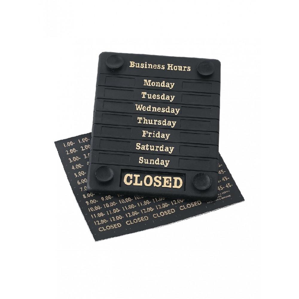 Deurbord Open/Closed - met openingstijden - DL226