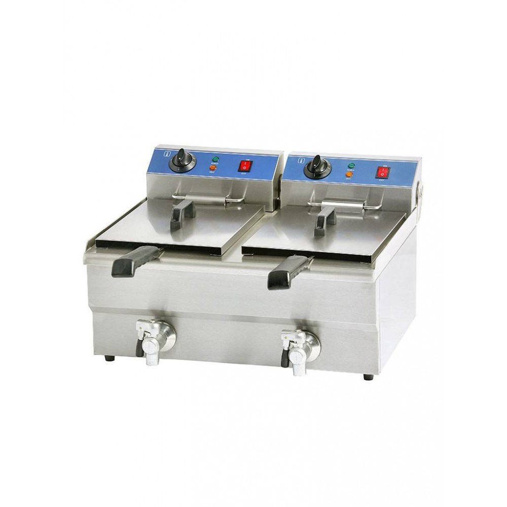 Promoline - 2 x 10 liter - Aftapkraan - 400V - 058149 - Horeca friteuse