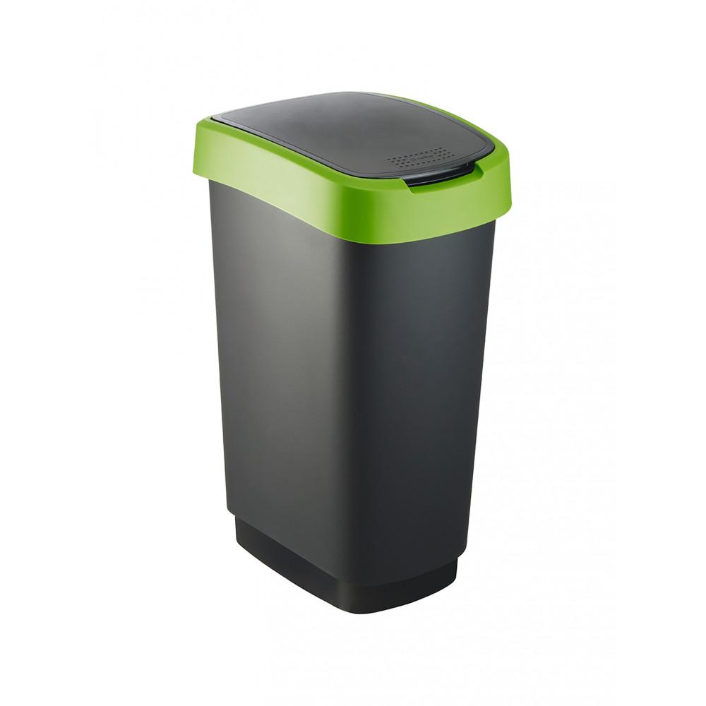 Afvalbak - 50 Liter - 3 Stuks - Swingdeksel - Zwart / Groen - Rotho - Twist - 528878
