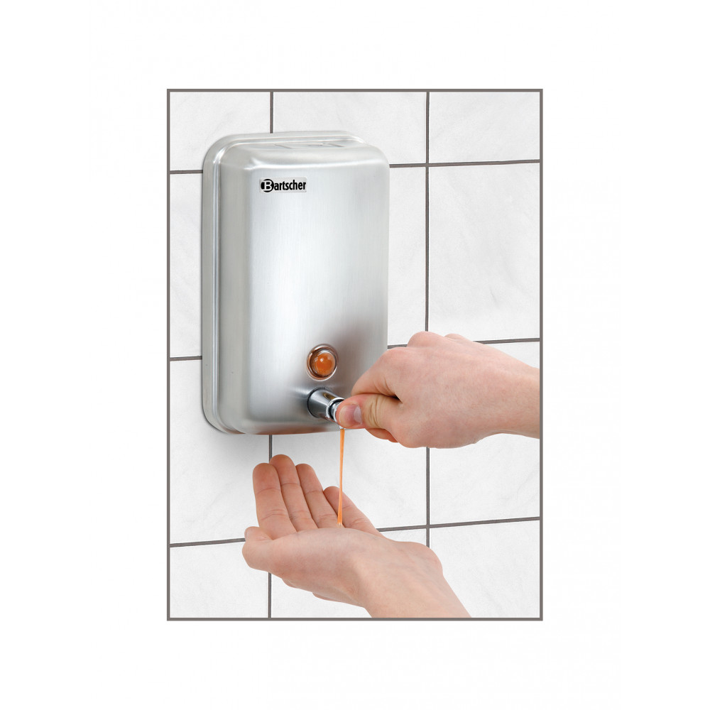 Zeepdispenser - 1 Liter - Wandmontage - Zilver - Bartscher - 850007