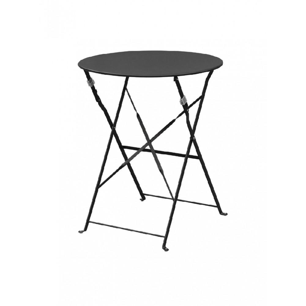 Ronde tafel - Opklapbaar - 60 cm - Staal - Zwart - Bolero - GH558