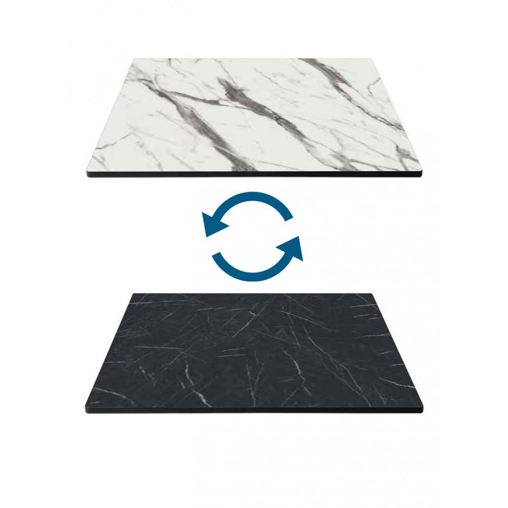 Tafelblad HPL - 70 X 70 CM - Marmer Wit & Marmer Zwart - Promoline