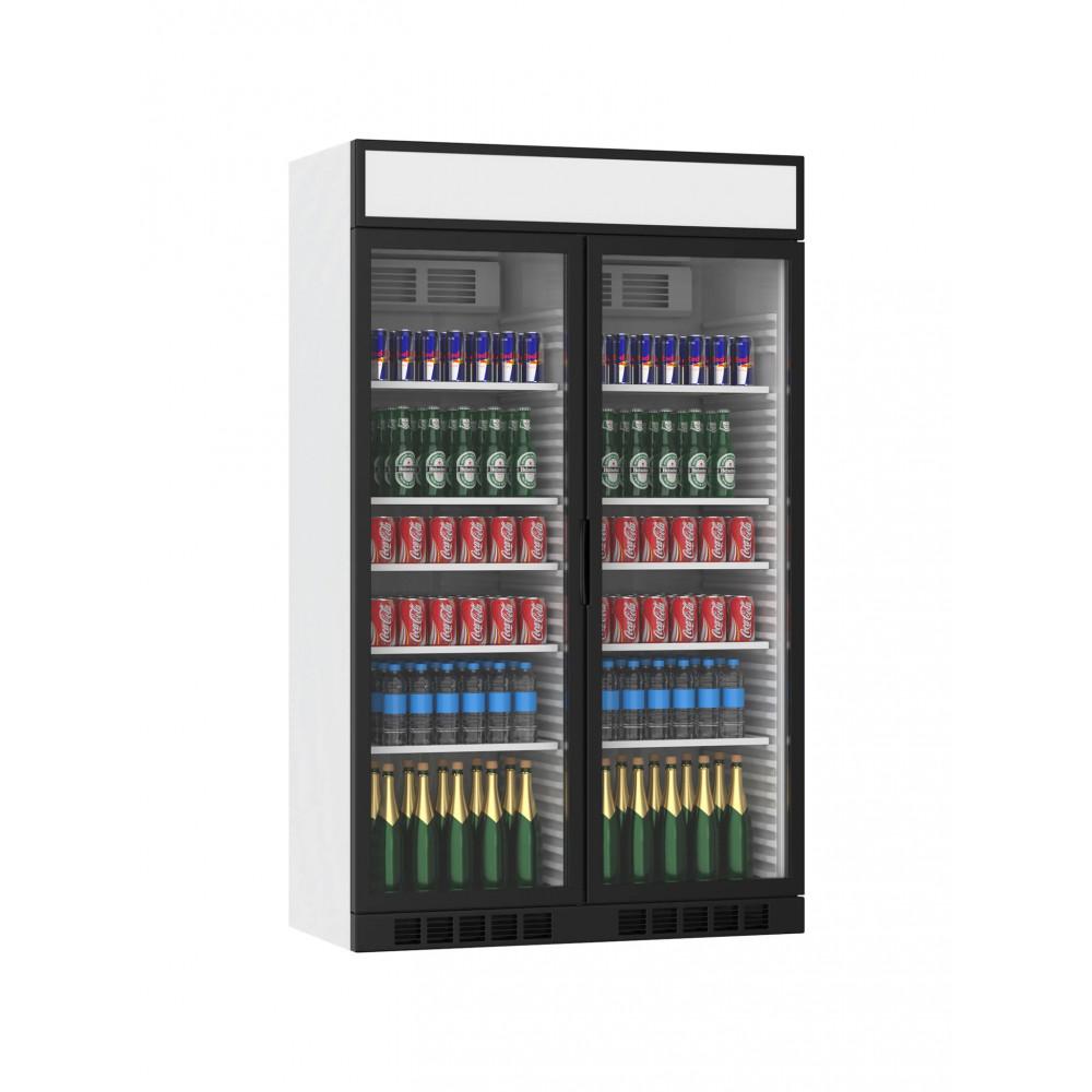 Displaykoeler - 770 Liter - 2 Deurs - Zwart - H199.4 x 120 x 60.5 CM - Promoline
