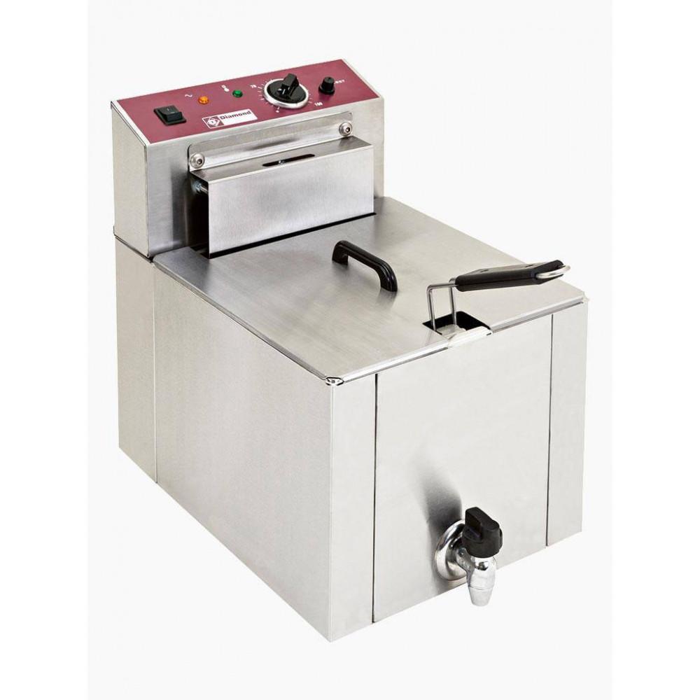Horeca friteuse / frituurpan 8 liter aftapkraan | Diamond