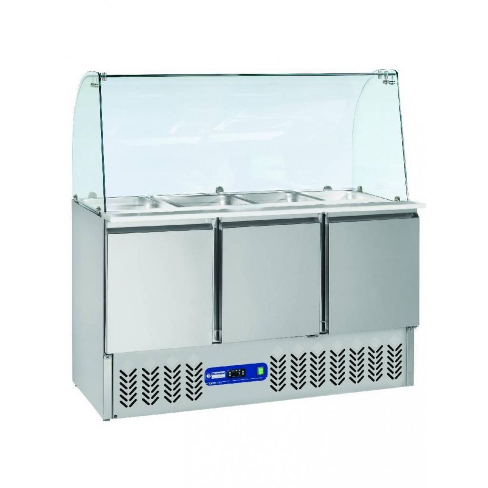 Saladette + Deksel + Reserve - Gebogen Glas - 3 Deuren - 380 L - SAL3M/R6+KV3 - Diamond