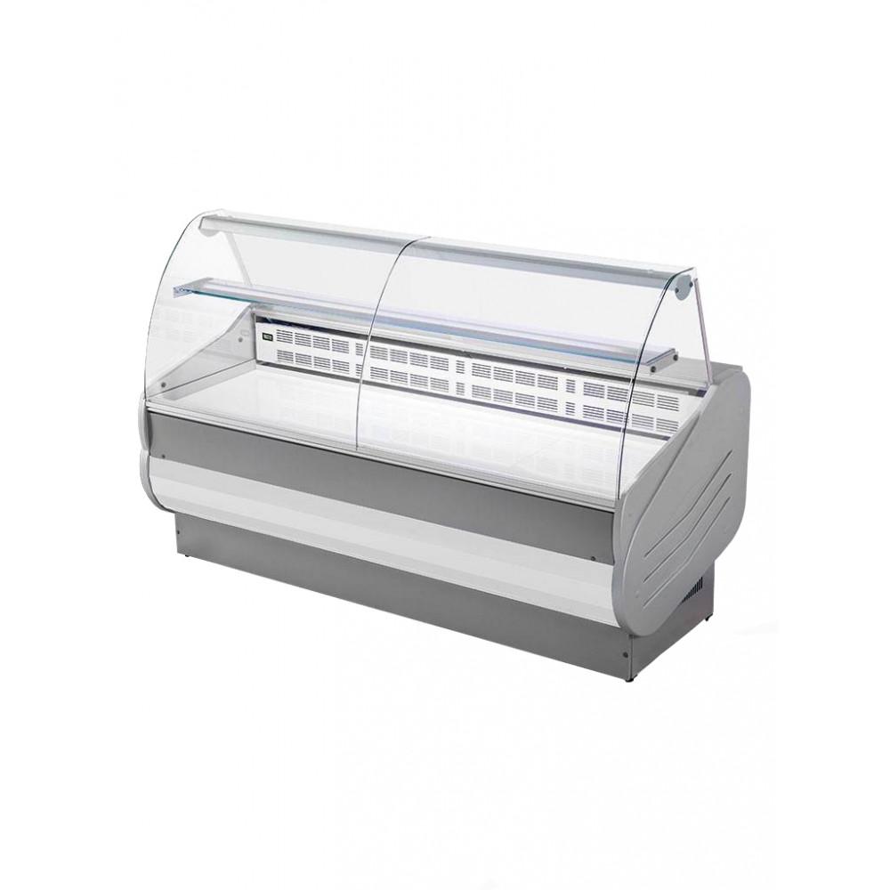 Koeltoonbank Master - 150 CM - Gebogen ruit - 393W - 230V - Wit/Grijs - Promoline