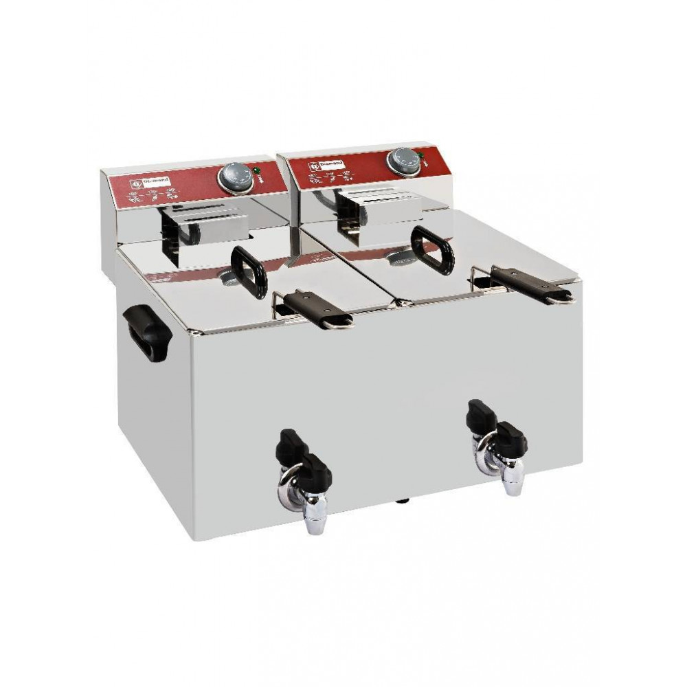 Horeca friteuse - 2x 8 liter - Met aftapkraan - EF82-KN - Diamond