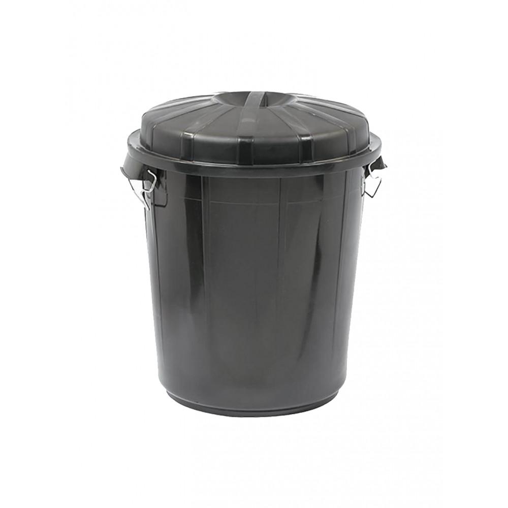 Afval Container - H 58.5 CM - 2.576 KG - Ø49.5 CM - Zwart - 70 Liter - Denox - 600051