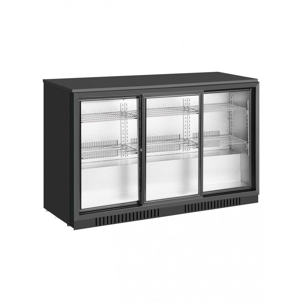 Promoline - 320 liter - 3 schuifdeuren - Zwart - Koelkast glazen deur