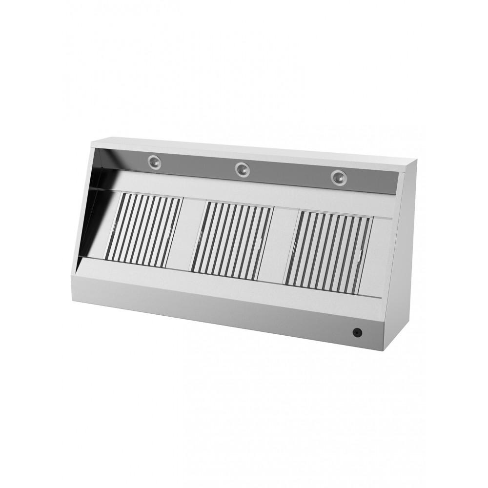 Horeca afzuigkap - Schuin model - H 40 x 250 x 95 CM - Inclusief verlichting - Promoline
