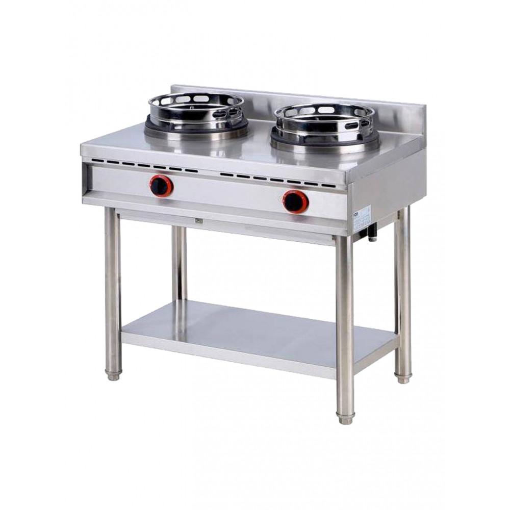 Gas wok kookplaat met plank, 2 branders - Virtus - AHA0018