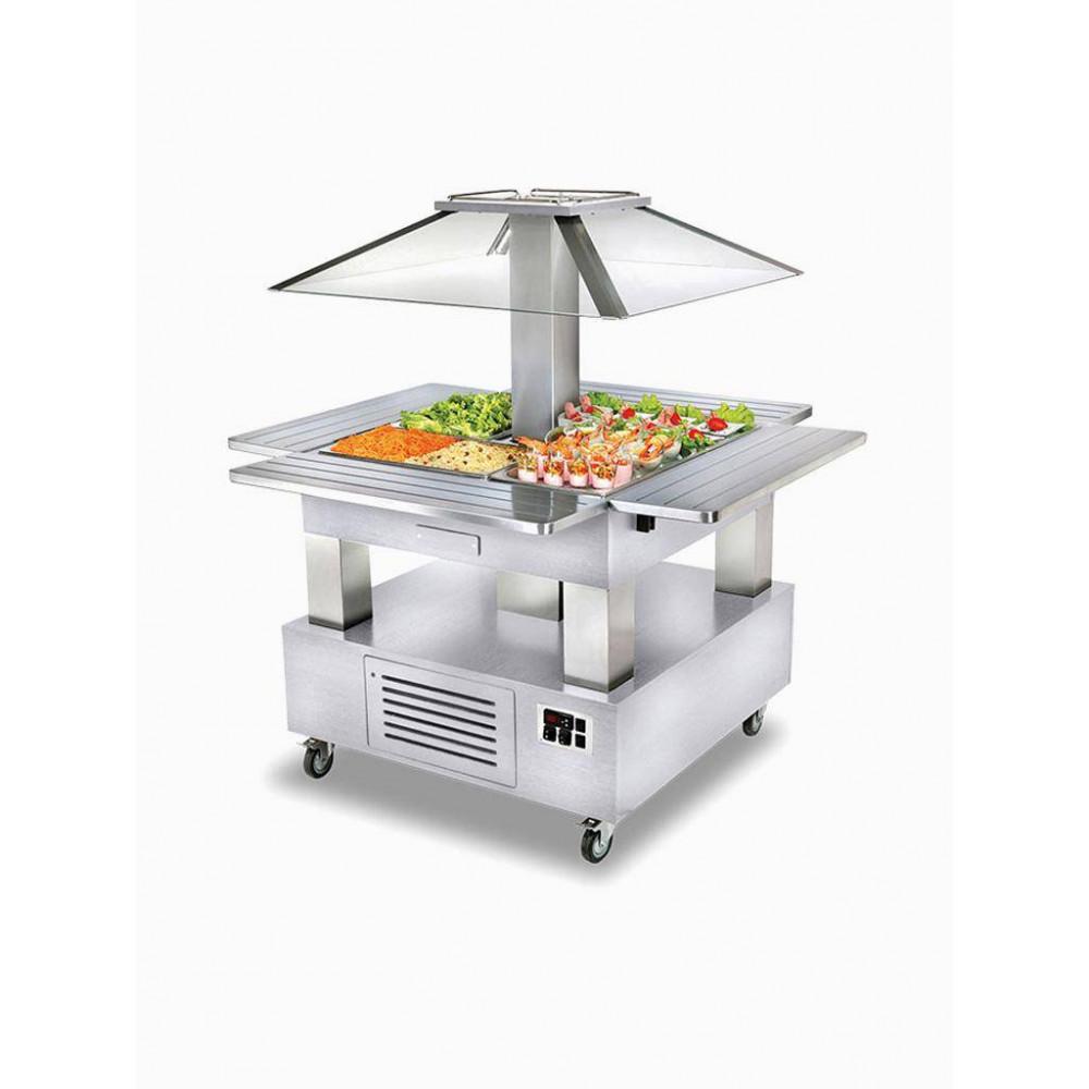 Eiland Buffet - Salad bar - Gekoeld - 4x GN 1/1-150 (wit hout) - CSB/4D-A1 - Diamond