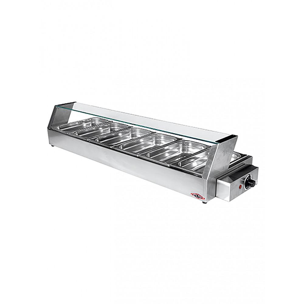 Warmhoudvitrine - H 10 x 114.5 x 35.5 CM - 10 KG - 220 - 240 V - 1600 W - RVS - Stilfer - 527012