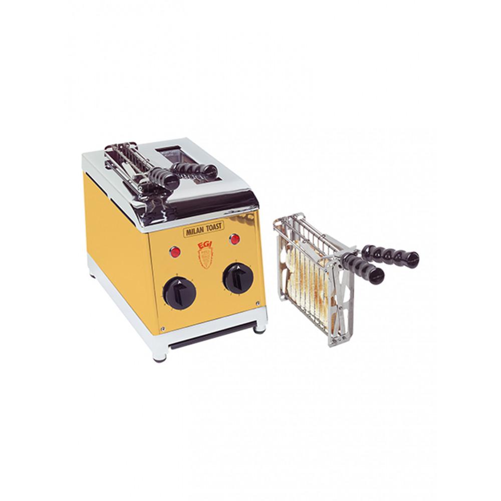 Tosti Apparaat - H 30 x 18 x 30 CM - 4 KG - 220 - 240 V - 1300 W - RVS - Goud - MilanToast - 420012