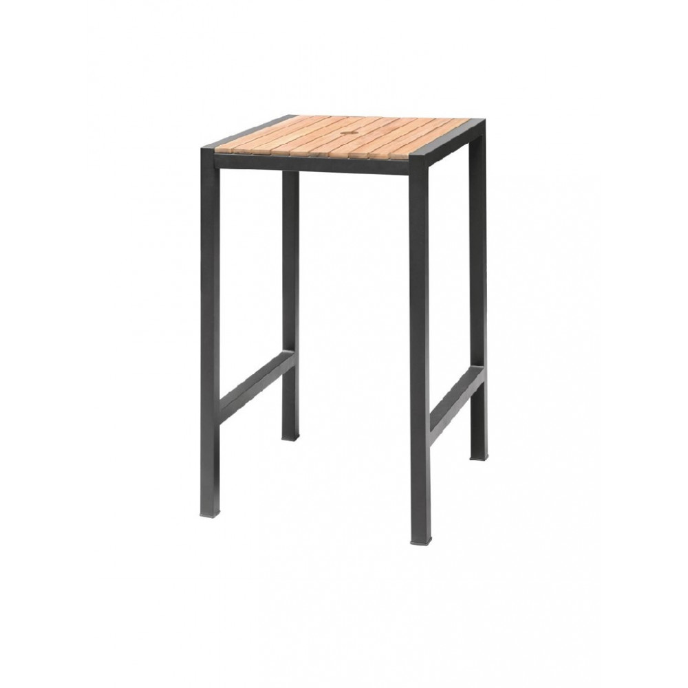 Vierkante stalen en acaciahouten bartafel - DS155 - Bolero