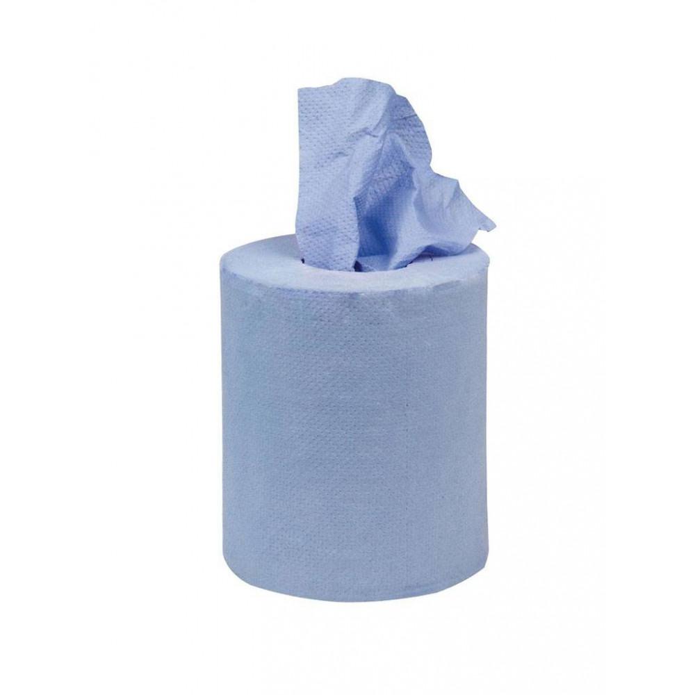 Mini centrefeed handdoekrollen - blauw - 12 stuks | Jantex