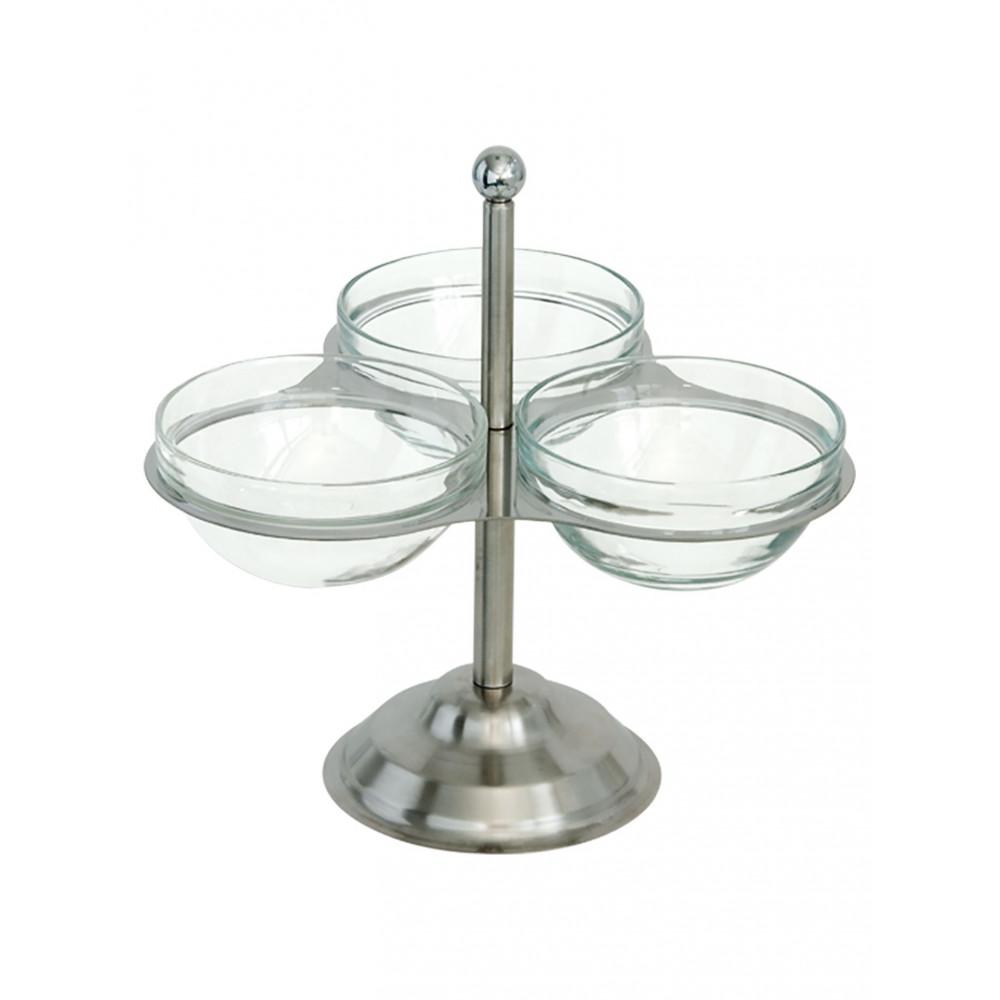 Buffet standaard - Roterend - 3 glazen schaaltjes 0.62 L - Promoline