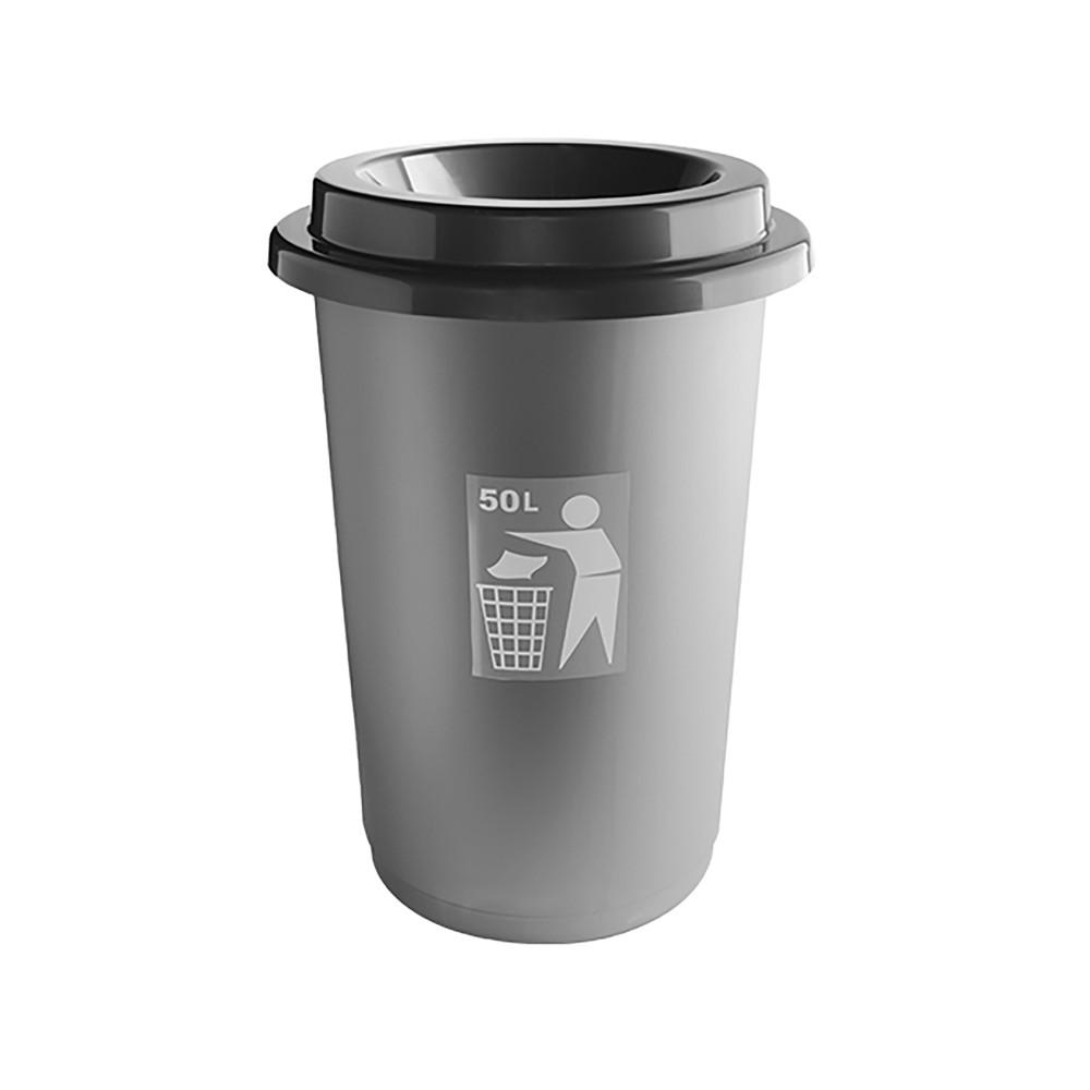 Afval Container - H 59.5 CM - 1.617 KG - Ø41 CM - Polypropyleen - Grijs - 50 Liter - 650050